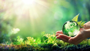 Hand holding a small globe on garden background