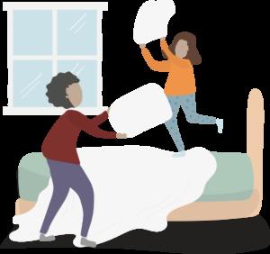 Illustration of children having a pillow fight